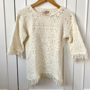 LOFT Cream Fringe Spring Sweater Small